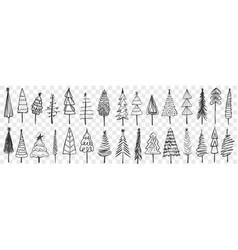 coniferous trees drawn doodle set vector image