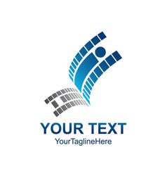 creative abstract pixel human up logo design vector image