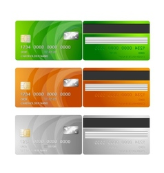 Credit cards orange green silver vector