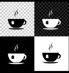 cup with tea bag icon isolated on black white and vector image