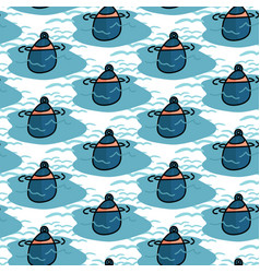Cute boating buoy cartoon seamless pattern vector