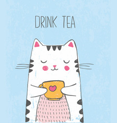 Cute sketch cat with cup of tea vector