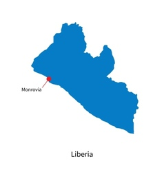 Detailed map of Liberia and capital city Monrovia vector