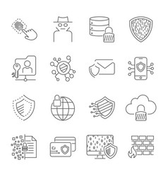 digital protection and cyber security icons set vector image