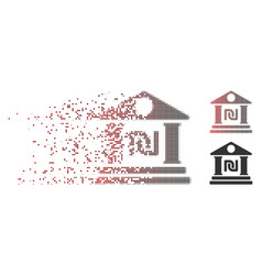 Dissolved pixel halftone shekel bank building icon vector
