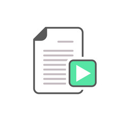 document file page play button video icon vector image