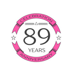 Eighty nine years anniversary celebration logo vector