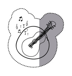 figure guitar instrument note music icon vector image