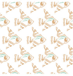 fish embroidery white pastels seamless pattern vector image