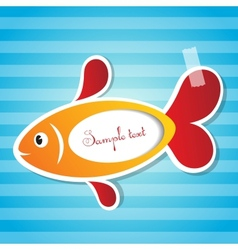 fish sticker with tape vector image