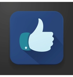 Flat design thumbs up button - like icon vector image