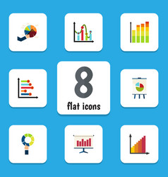 flat icon chart set of pie bar easel monitoring vector image