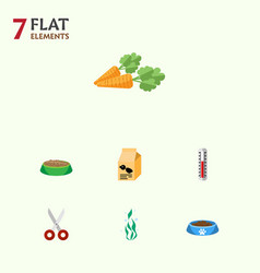 Flat icon pets set of root vegetable seaweed vector