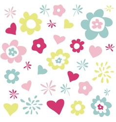 Flowers and hearts greeting card vector