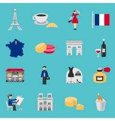 France Icons Flat Set vector image