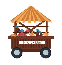 Fruit bar cart stall banana and pineapple vector