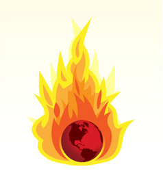 Global warming and earth burning vector