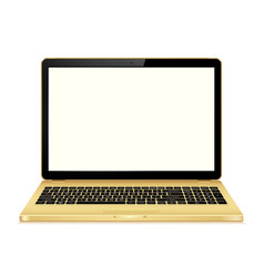 Gold laptop with blank screen isolated on white vector