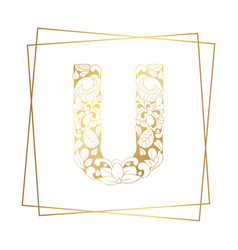 golden ornamental alphabet letter u font on white vector image