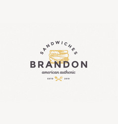 hand drawn logo sandwich silhouette and modern vector image