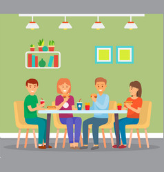 happy friends eating fast food sitting in cafe vector image