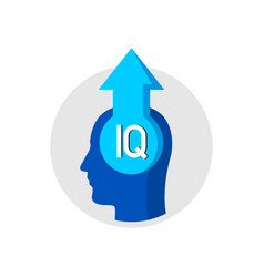 iq grow up concept logo human head with arrow up vector image