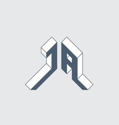 Ja - logo or 2-letter code isometric 3d font vector
