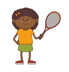 Kid tennis player sport vector
