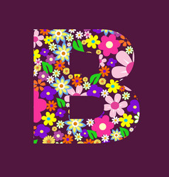 letter of beautiful flowers b vector image