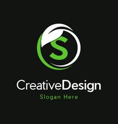 Letter s circle leaf creative business logo vector