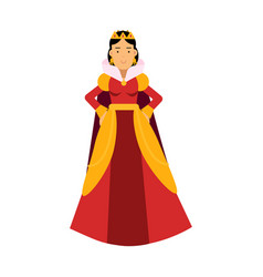 Majestic queen in red dress and gold crown vector