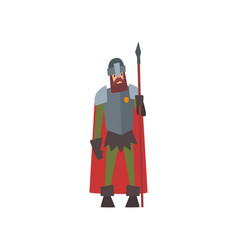 medieval armored knight warrior character in red vector image