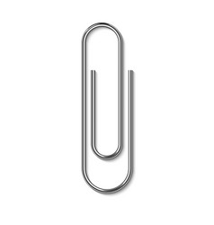 Metal paper clip isolated on white background vector
