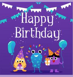mockup birthday invitation card with cute vector image