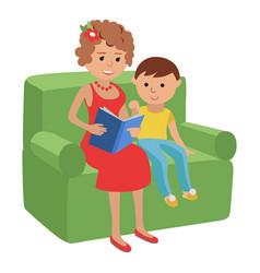 Mother reading a book for son vector