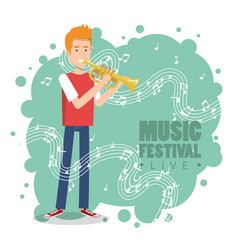 music festival live with man playing trumpet vector image