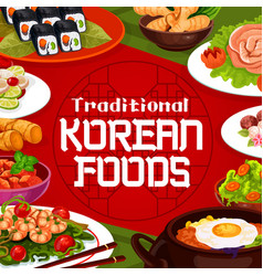 National cuisine korean authentic food dishes vector