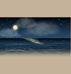 nighr sea landscape background waves moon stars vector image