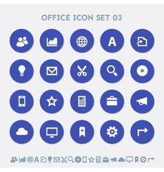 Office 3 icon set Multicolored square flat vector