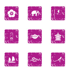 Online asia icons set grunge style vector