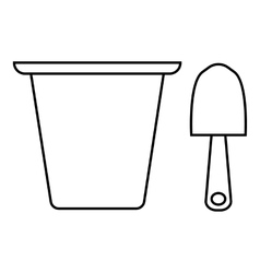 Pail and shovel icon outline style vector