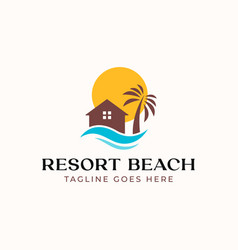 palm resort logo template isolated in white vector image