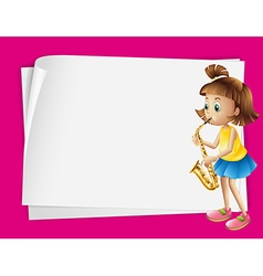 Paper design with girl playing saxophone vector image