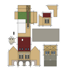 Paper model an old town house vector