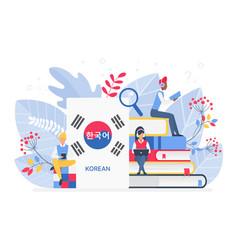 People learning korean language vector