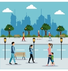 people walking in street city vector image