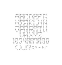 pixel font perforated round holes silhouette vector image