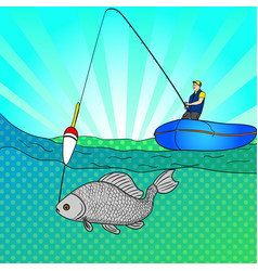 pop art man who fishing in open sea fishing vector image