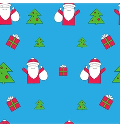 Santa Claus with gifts seamless pattern Christmas vector image