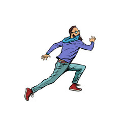 scared hipster runs vector image